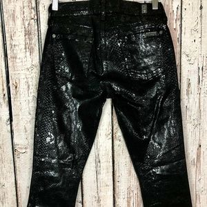7 For All Mankind THE SKINNY High Gloss Snake Skin
